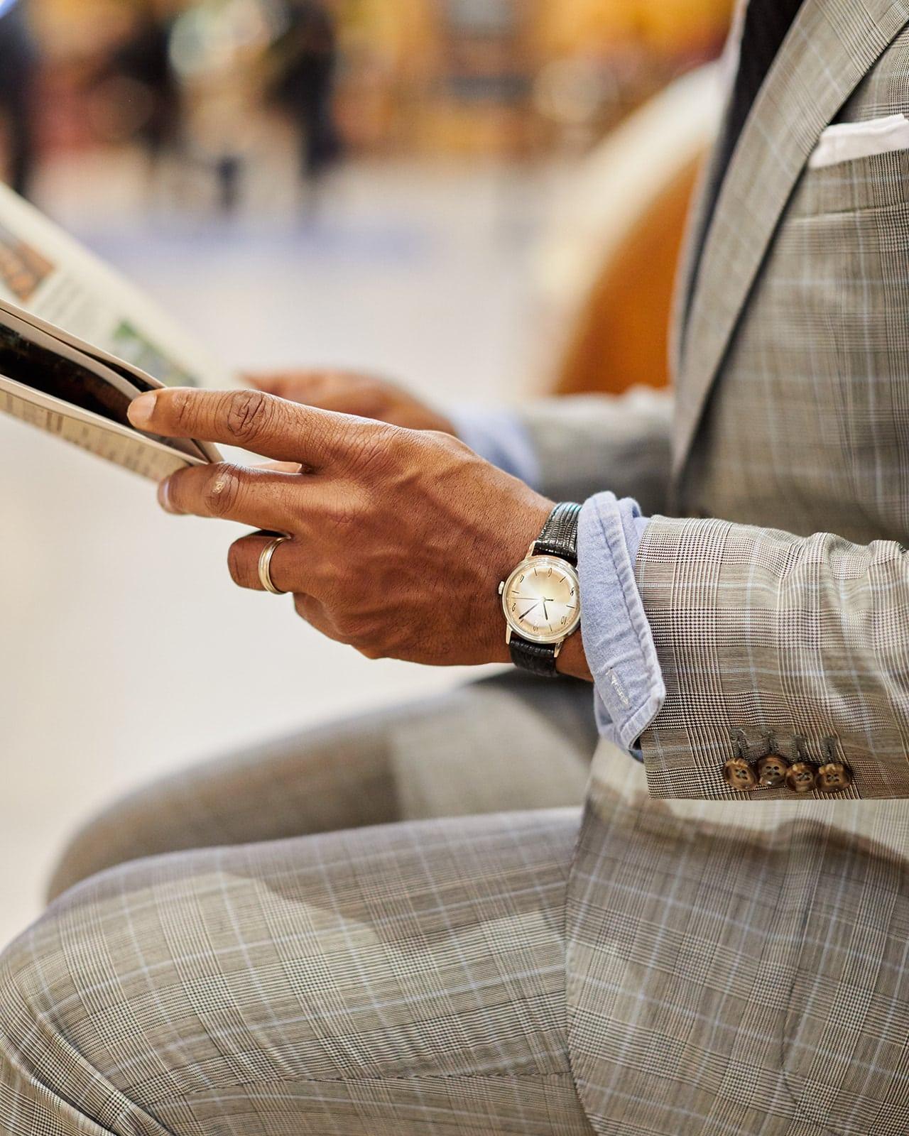 Sabir of Men's Style Pro in Grey ModaMatters x Men's Style Pro suit and Allen Edmonds Black Monstrap Shoes Classic American Workwear
