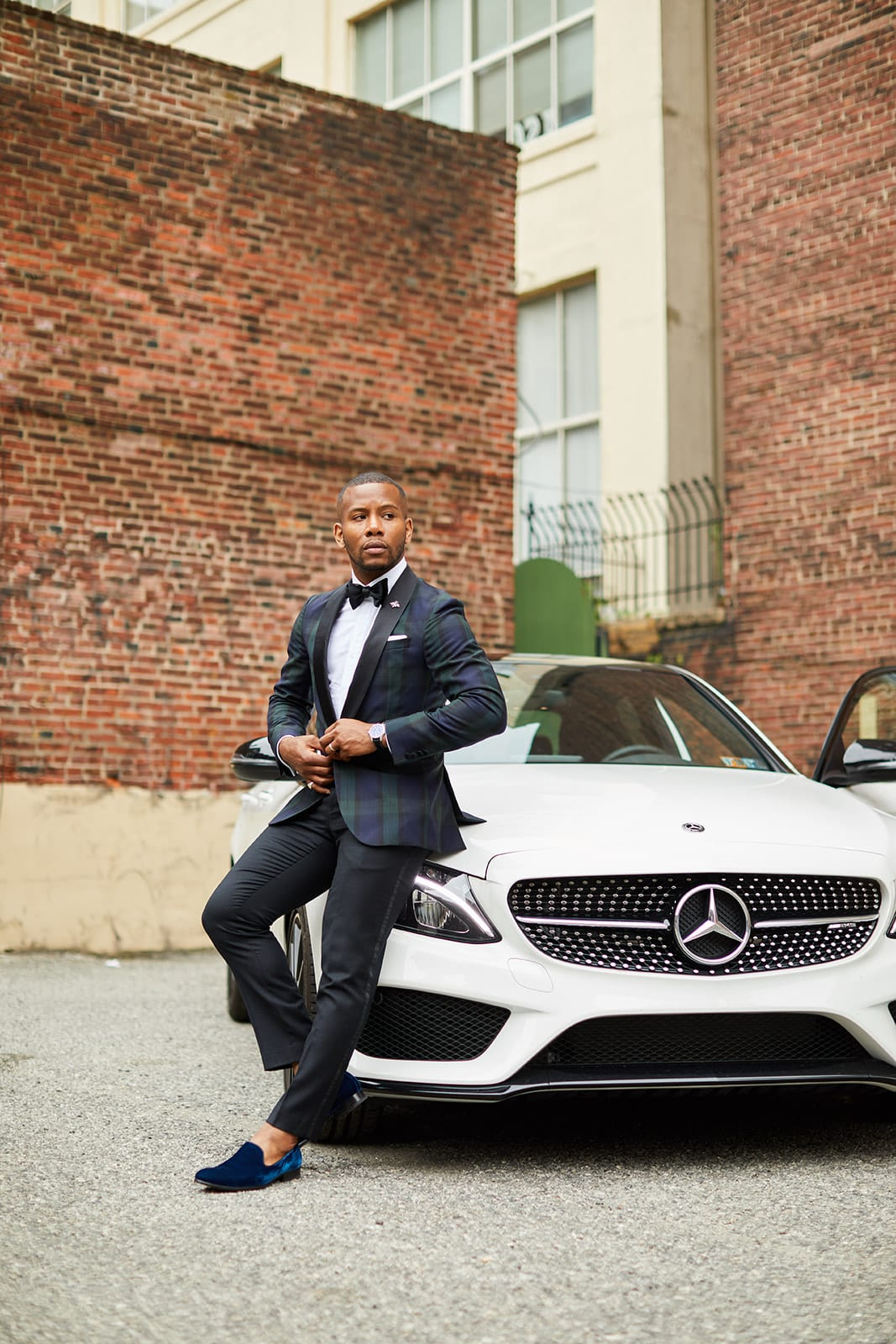 Sabir M. Peele Black Tie Style in Hugo Boss Black Watch Plaid Blazer w/ Mercedes Benz AMG C 43