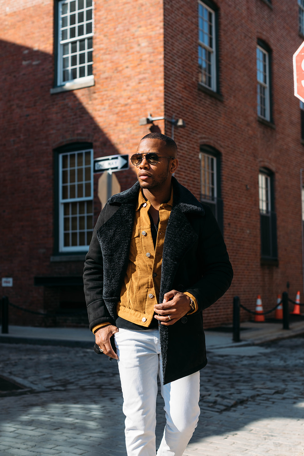 Sabir Peele of Men's Style Pro in Kenneth Cole Faux Fur Coat