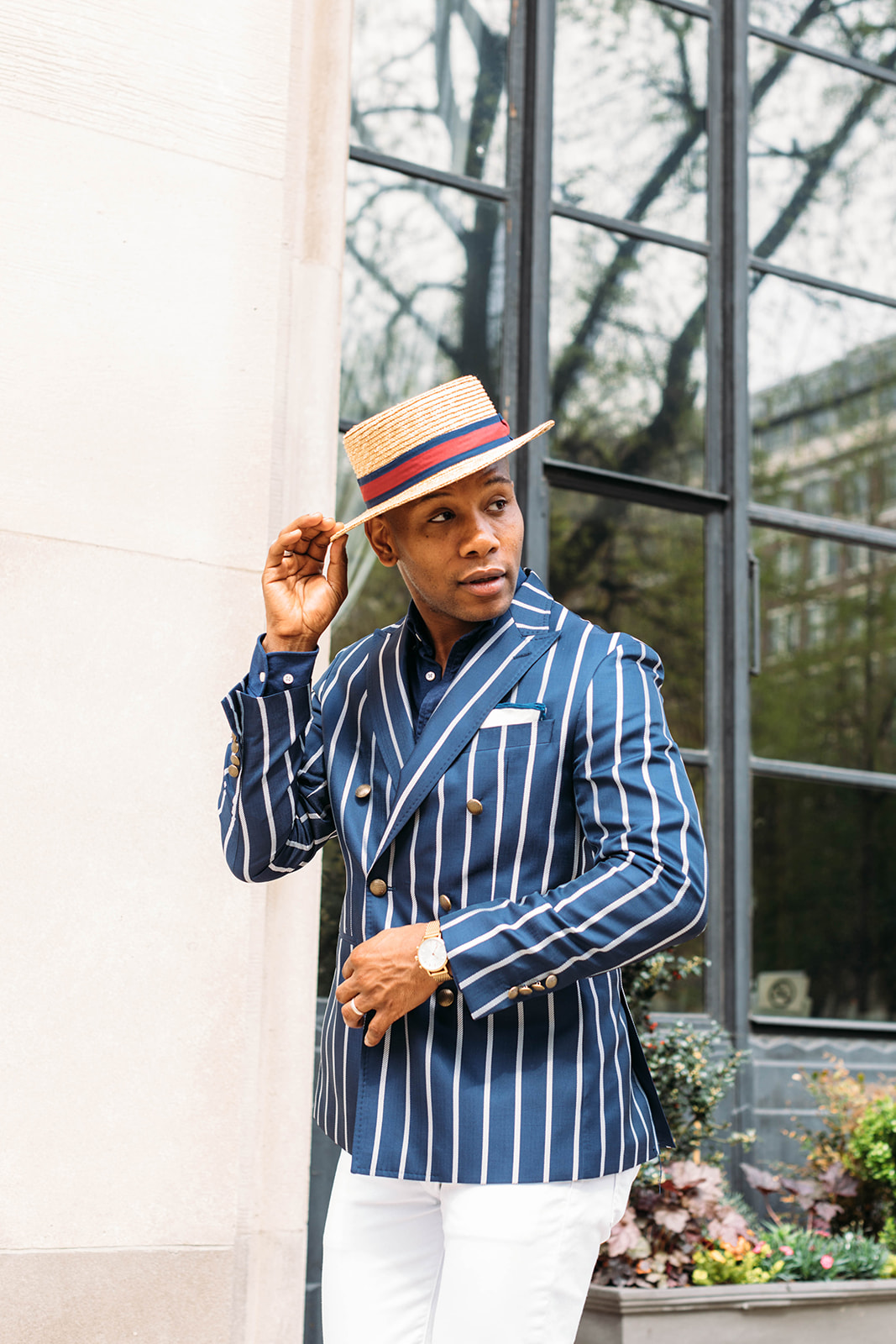 Men's Style Pro in Tallia Striped Navy Double BReasted Blazer