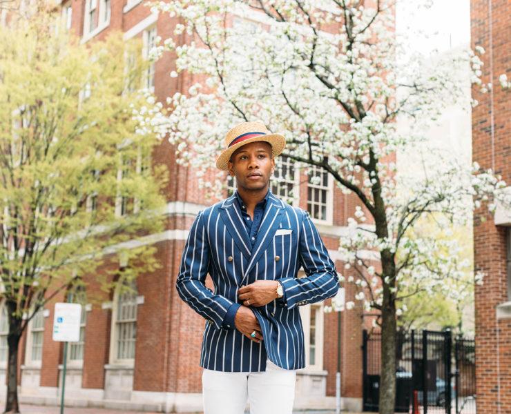 Tallia Orange Double Breasted Derby Style Men's Blazer on Men's Style Pro Sabir M. Peele