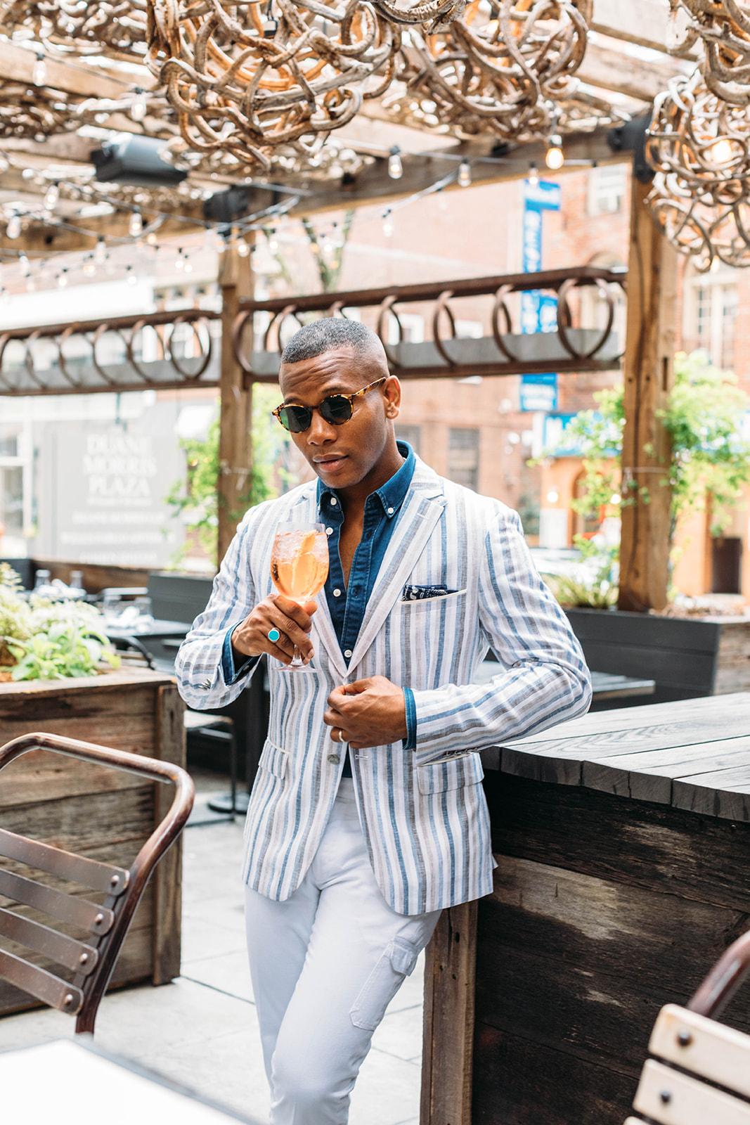 Sabir M. Peele of Men's Style Pro in Striped Tallia Orange Linen Blazer Derby Style