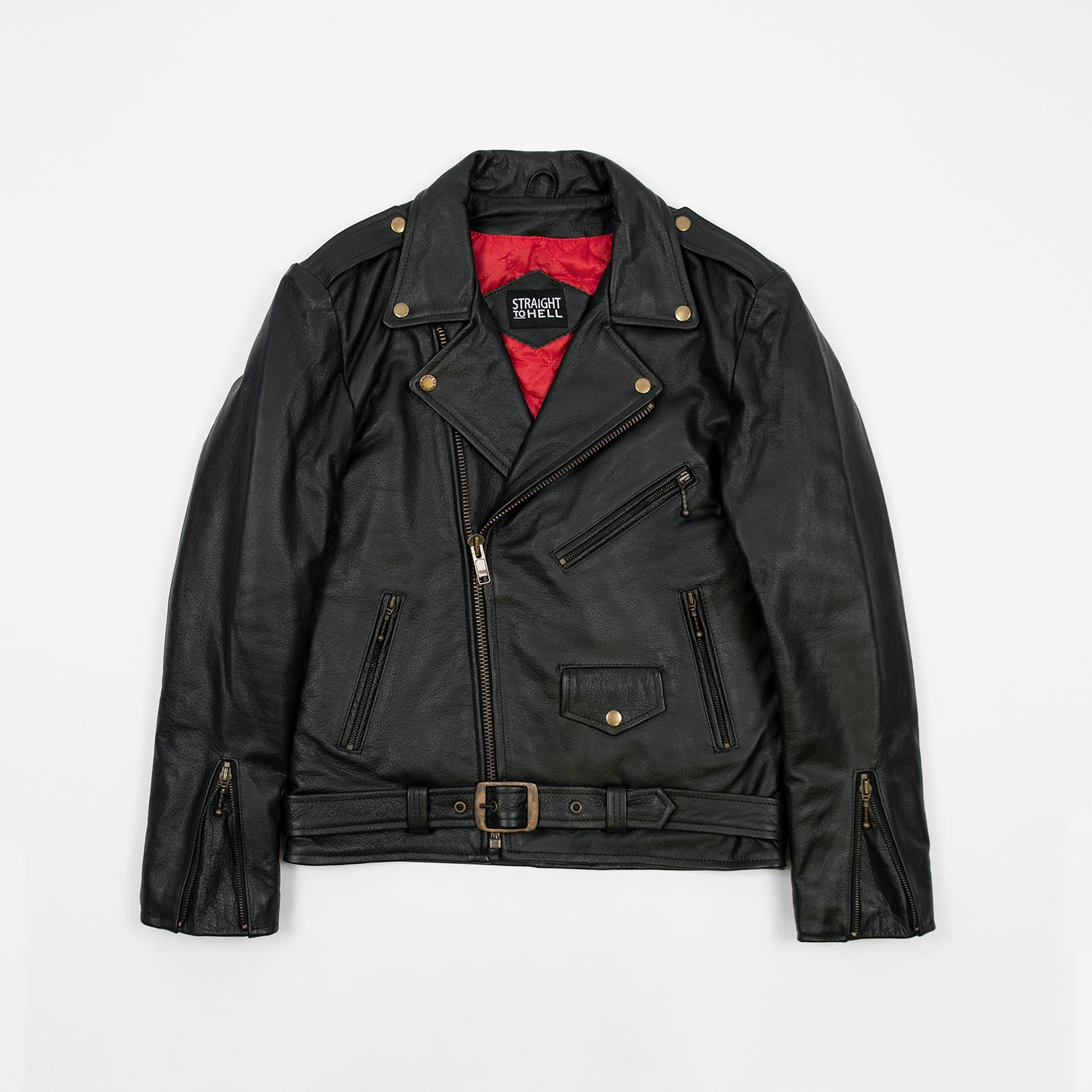 straight To hell brass leather jacket