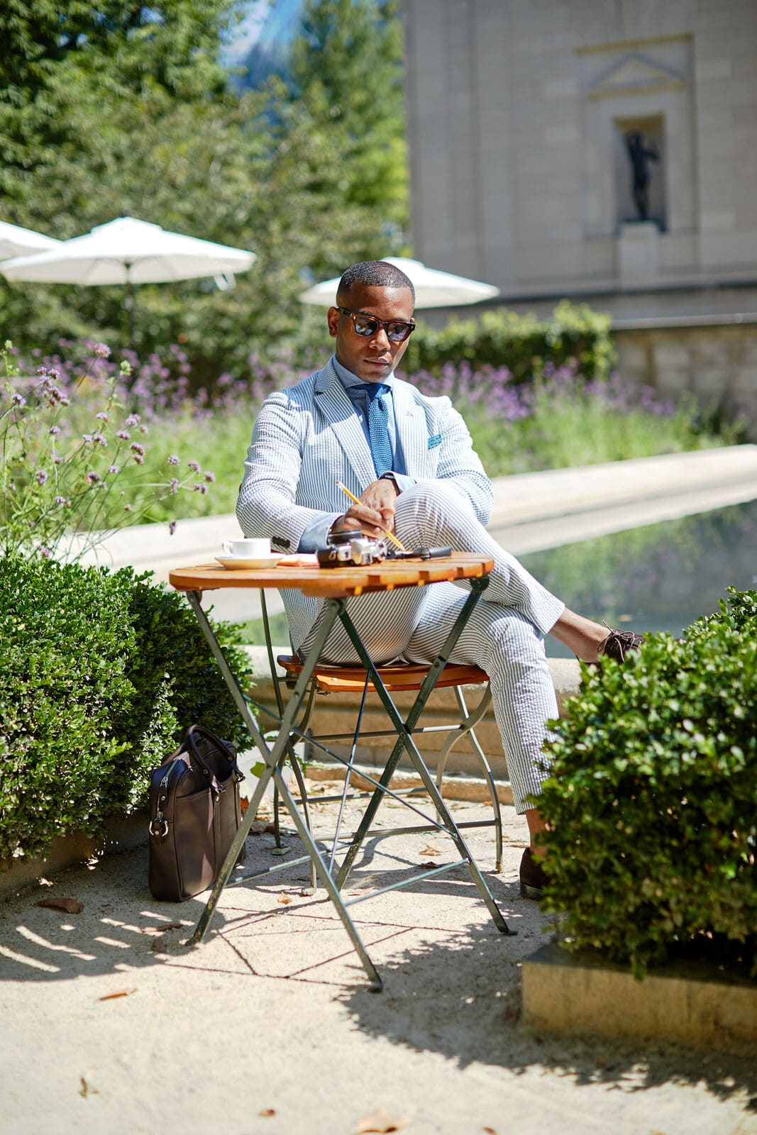 Sabir Peele of Men's Style Pro In J.Crew Seersucker Suit