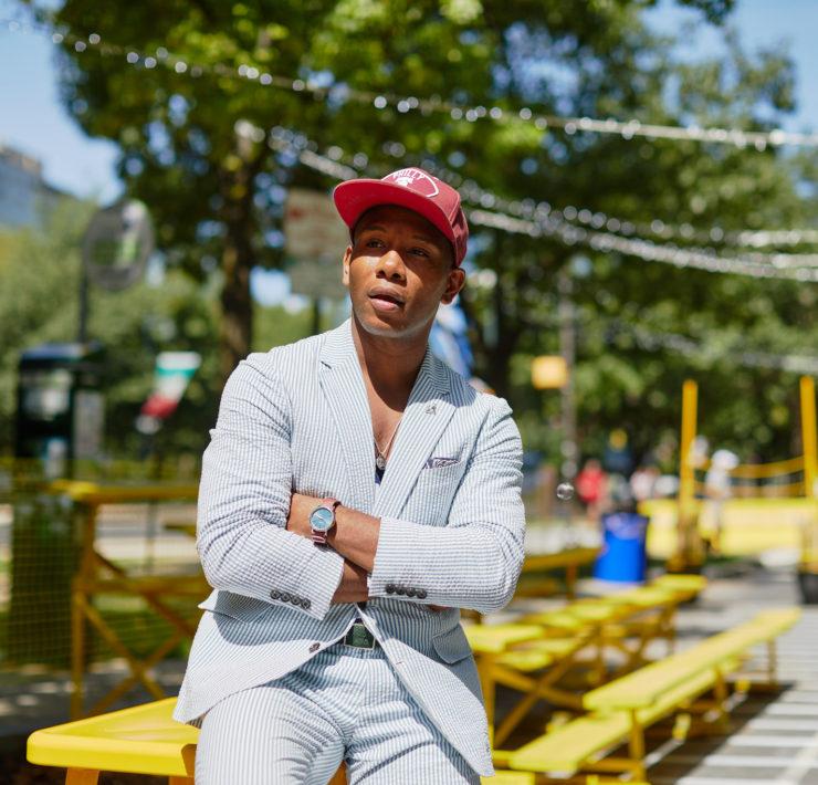 Sabir Peele of Men's Style Pro In J.Crew Seersucker Suit