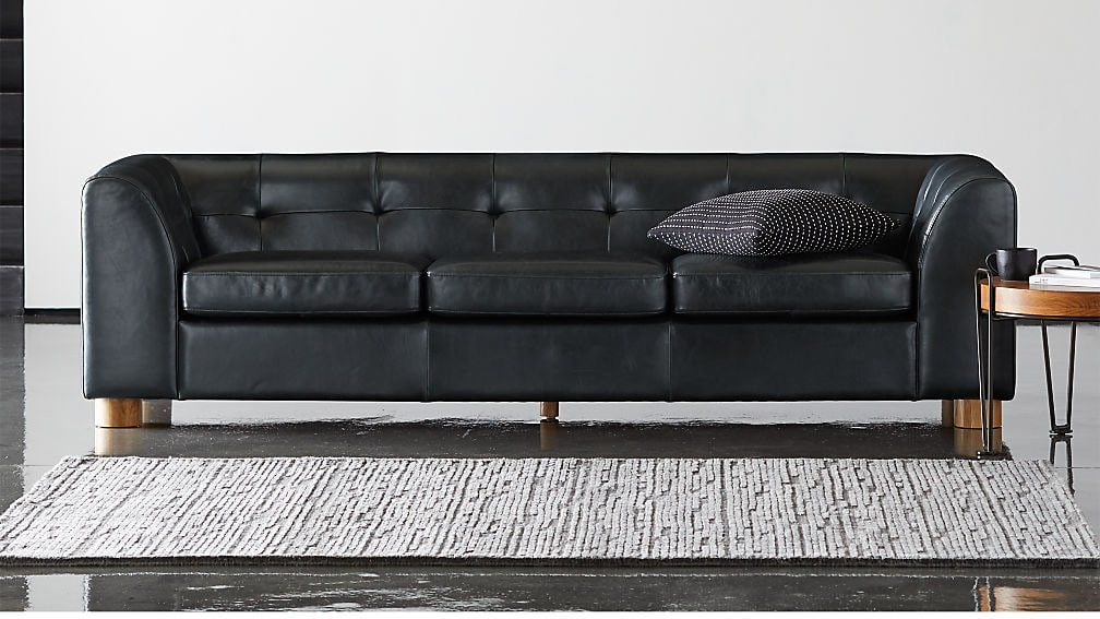 Kotka Black Leather Tufted Couch CB2+GQ