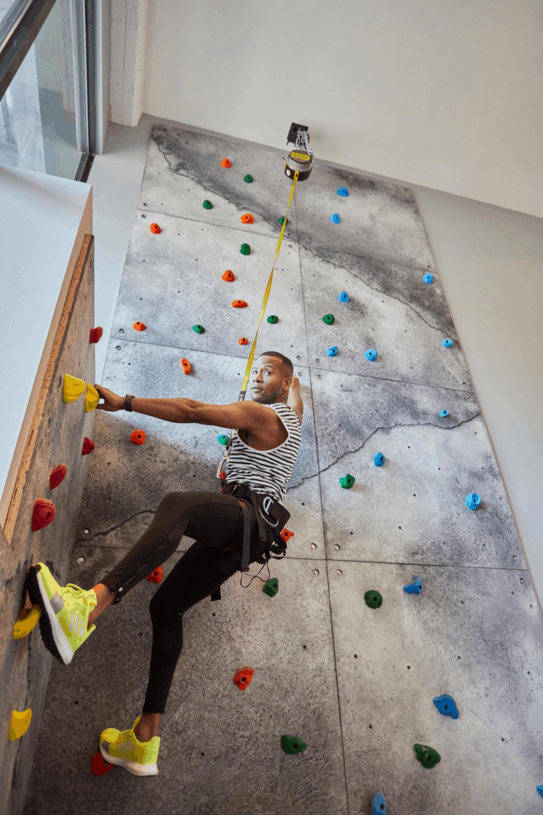 Sabir M. Peele of Men's Style Pro Rock Climbing at Fitler Club Philadelphia