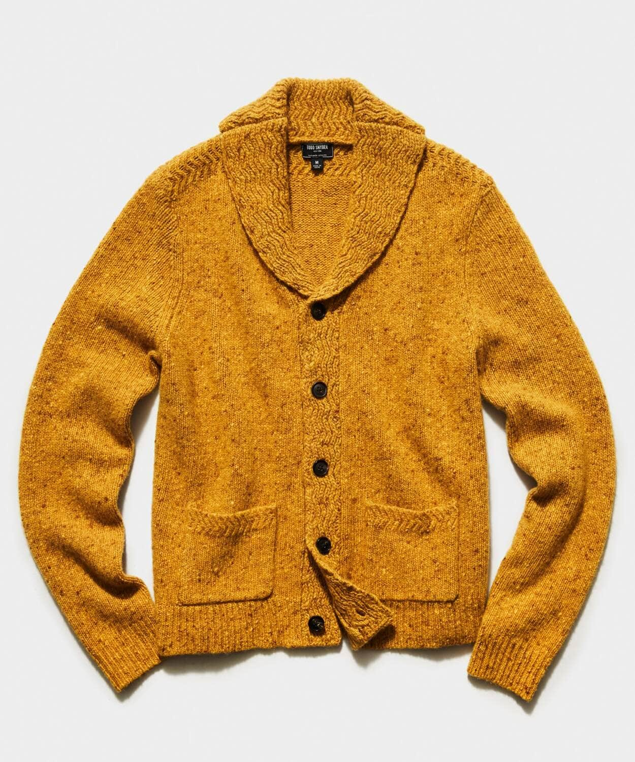 todd snyder cashmere yellow chunky cardigan