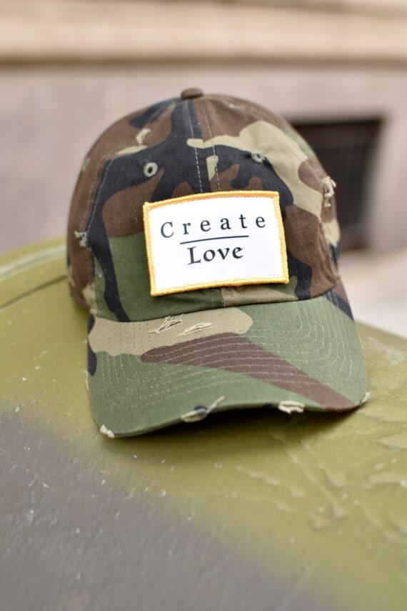 Men's Style Pro Distressed Camo Create Love Dad Cap